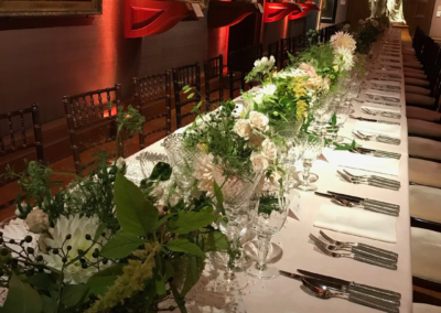 Long table with with white flower display
