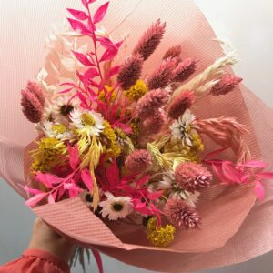 hot pink and white mini dried bunch